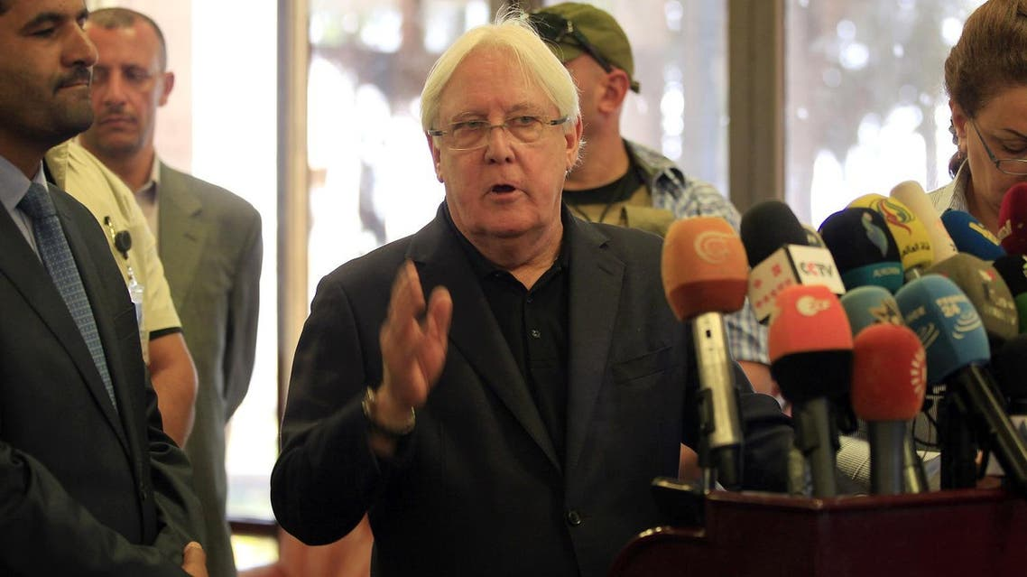 The UN Special Envoy to Yemen Martin Griffiths speaks to the press at Sanaa international airport. (File photo: AFP)