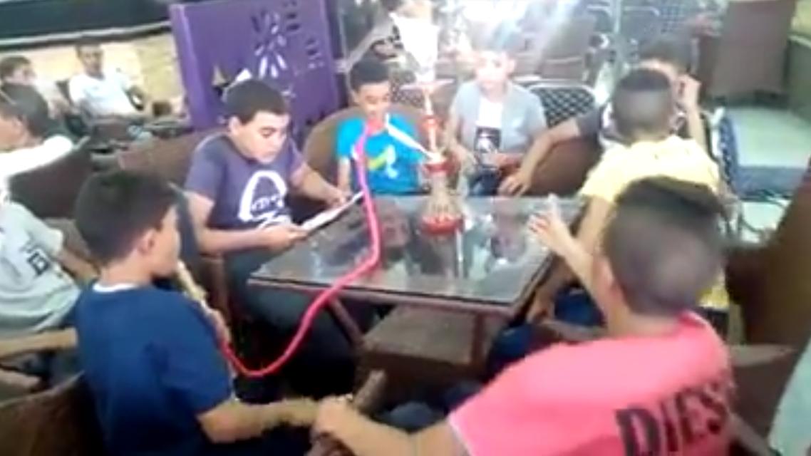 Egyptian children smoking