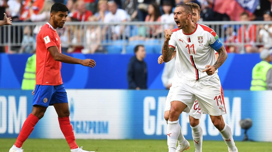 Serbia's Aleksandar Kolarov (R) celebrates after scoring during the Russia 2018 World Cup Group E match against Costa Rica at the Samara Arena in Samara on June 17, 2018. (AFP)
