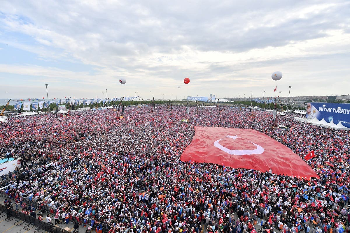 Supporters of Turkish President Tayyip Erdogan gather for an election rally in Istanbul. (Reuters)