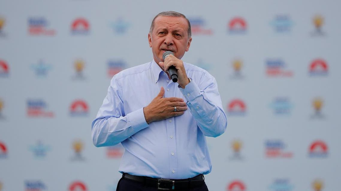 Turkish President Tayyip Erdogan greets his supporters during an election rally in Istanbul. (Reuters)