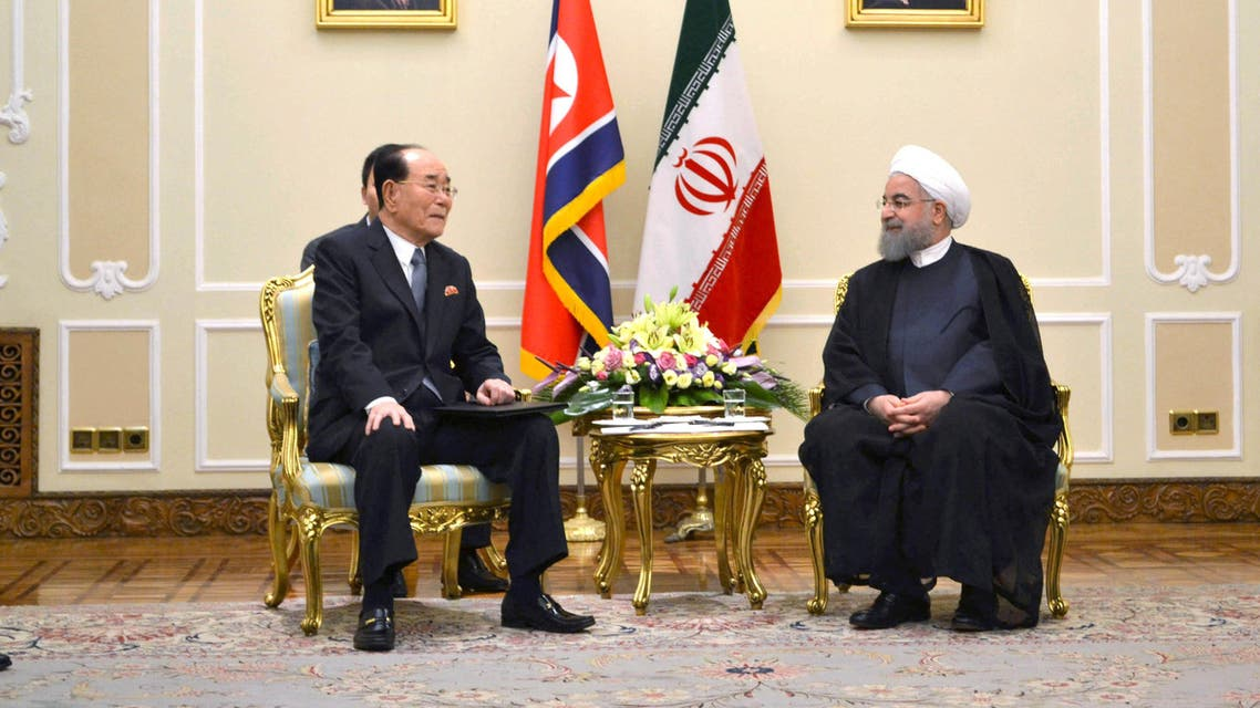 Kim Yong Nam, president of the DPRK Presidium of the Supreme People's Assembly with Iranian President Hassan Rouhani in Tehran on August 7, 2017. (Reuters)