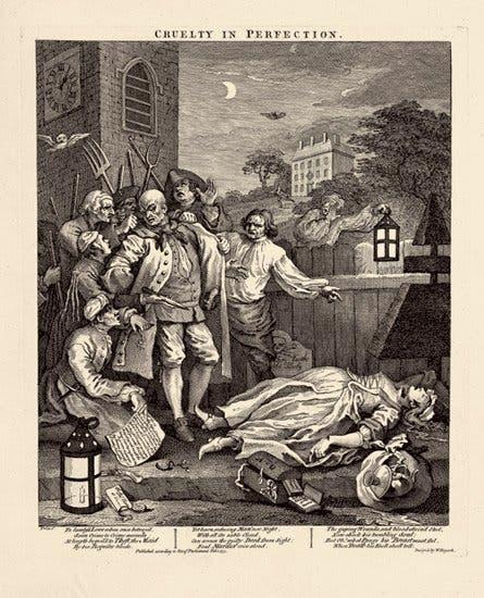 رسم تخيلي لإحدى جرائم القتل ببريطانيا سنة 1751