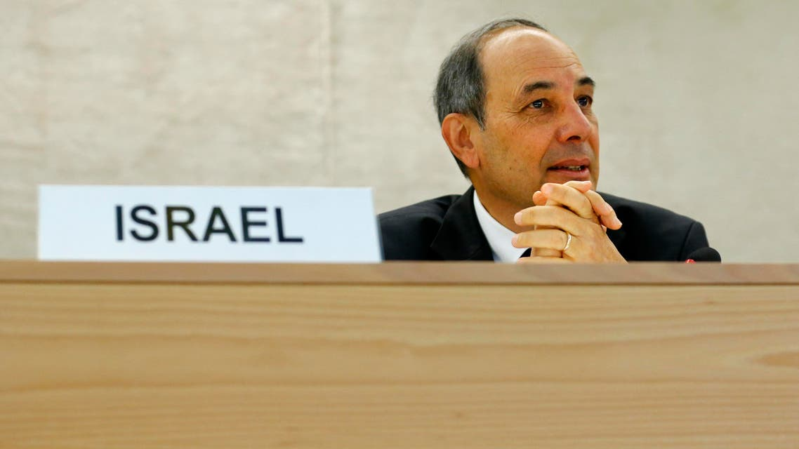 Eviatar Manor (R) Israel Ambassador to the U.N. waits for the start of the Human Rights Council Universal Periodic Review session at the European headquarters of the United Nations in Geneva. (Reuters)
