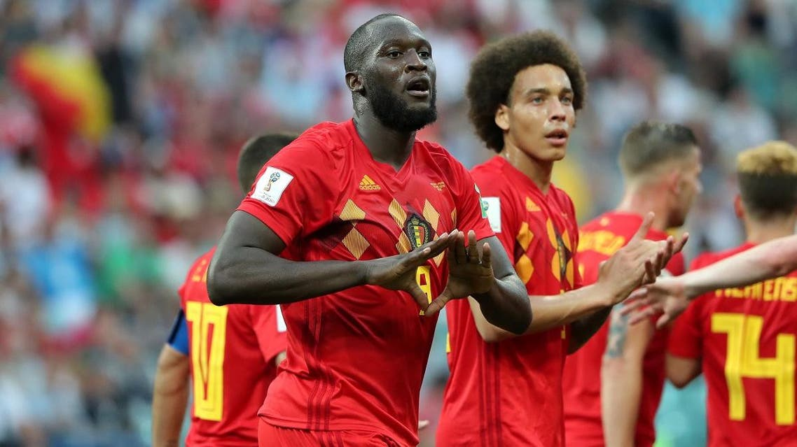 Belgium's Romelu Lukaku celebrates scoring their second goal with team mates. (Reuters)
