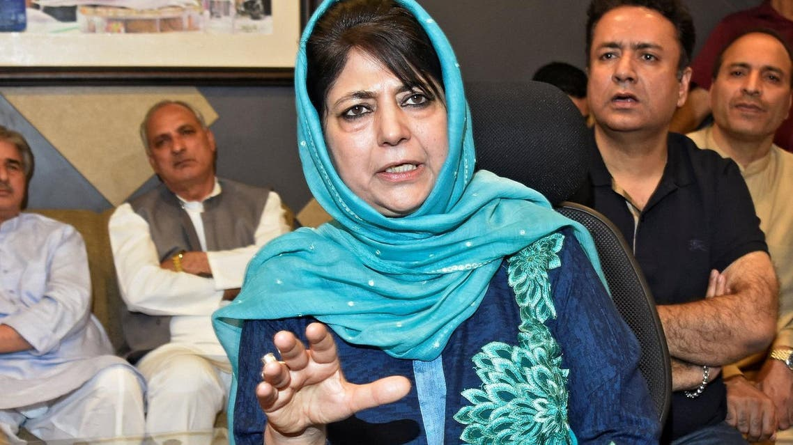 Jammu and Kashmir Chief Minister Mehbooba Mufti who has resigned addresses a news conference in Srinagar, June 19, 2018.