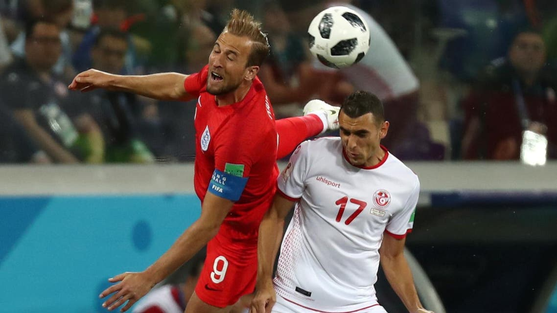 Yassine Meriah grappled with Kane again in the second half to stop him moving in the penalty area. (Reuters)