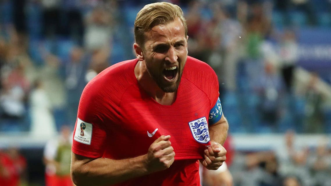 Harry Kane celebrates scoring their second goal at the Volgograd Arena on June 18, 2018 (Reuters)