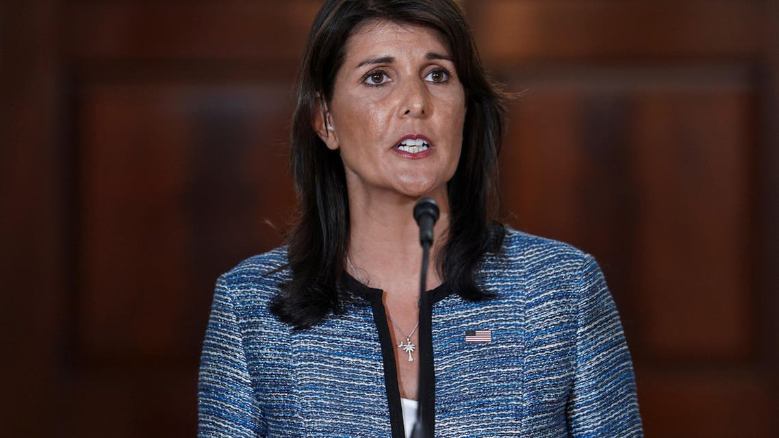 U.S. Ambassador to the United Nations Nikki Haley delivers remarks to the press together with U.S. Secretary of State Mike Pompeo (not pictured), announcing the U.S.'s withdrawal from the U.N's Human Rights Council at the Department of State in Washington, U.S., June 19, 2018. (Reuters)