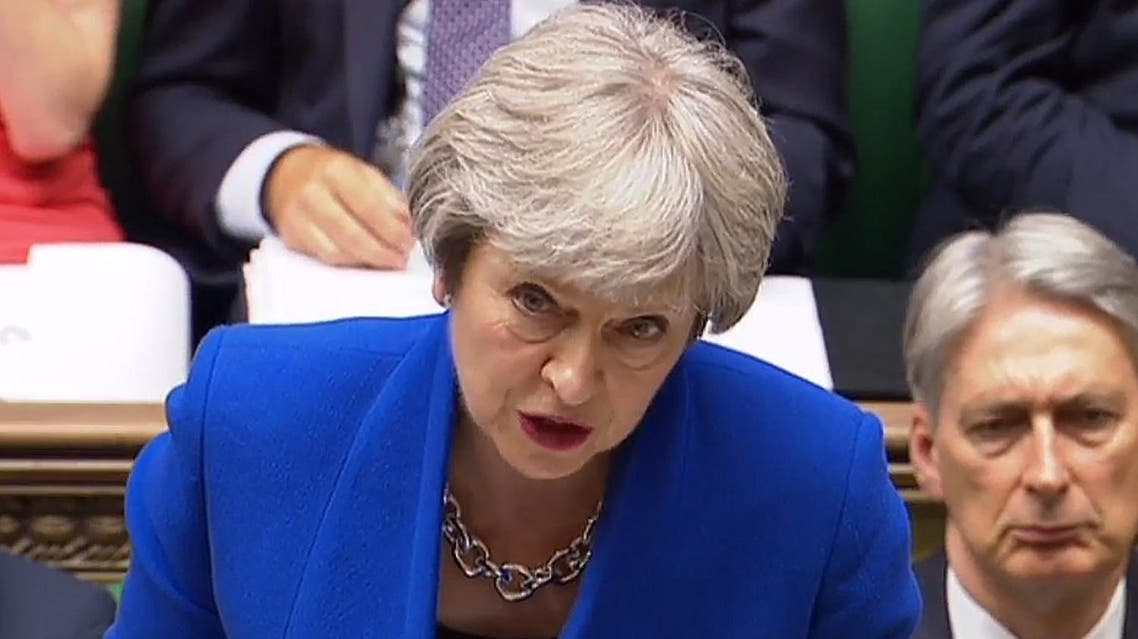 A video grab from footage shows Britain's Prime Minister Theresa May as she speaks in the House of Commons in London on June 20, 2018. (AFP)