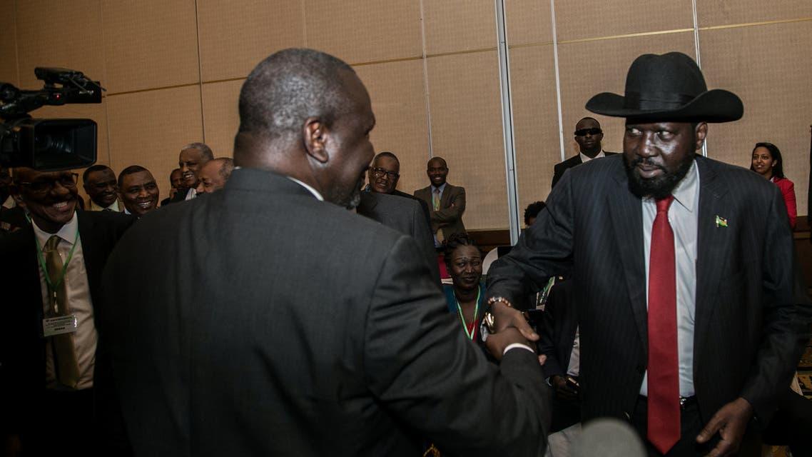 رئيس دولة جنوب السودان سلفاكير مع زعيم التمرد ريك مشار