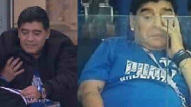 """مارادونا يبكي.. وصورة وهو يمسح """"دموع الهزيمة"""""""