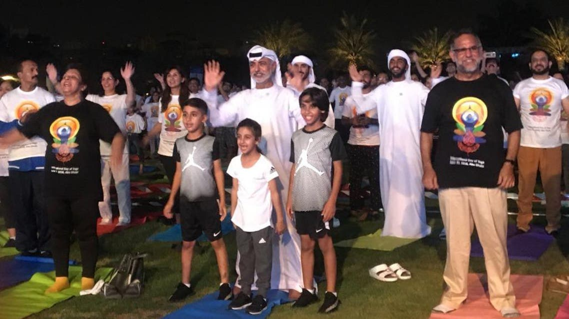 UAE Minister of Tolerance, Sheikh Nahyan Bin Mubarak Al Nahyan, attended the Indian Embassy organized Yoga session with his grandchildren. (Supplied)