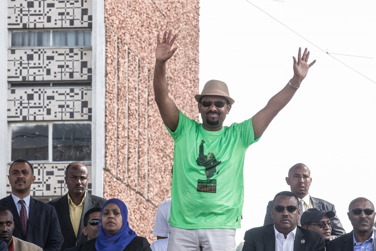 Ethiopia Prime Minister Abiy Ahmed waves to the crowd during a rally on Meskel Square in Addis Ababa on June 23, 2018, before the blast went off at the venue. (AFP)