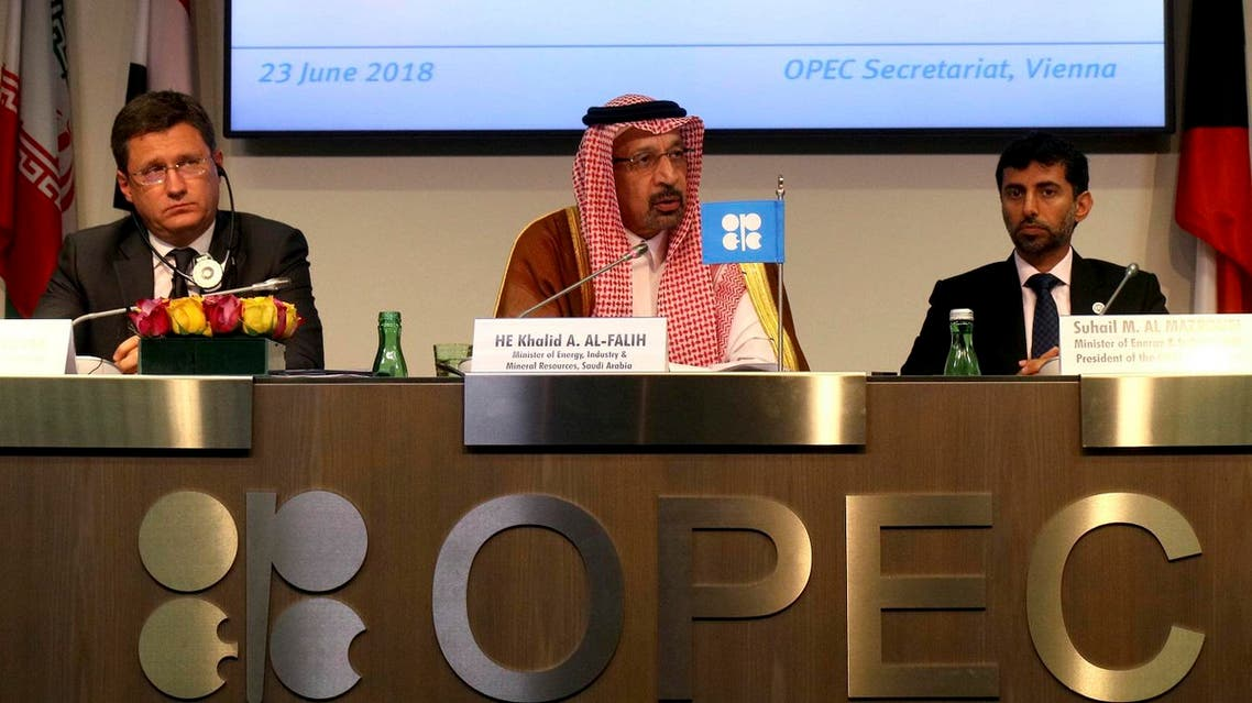 Russian Energy Minister Alexander Novak, Khalid Al-Falih, Minister of Energy, Industry and Mineral Resources of Saudi Arabia, and Minister of Energy of the UAE, UAE, Suhail Mohamed Al Mazrouei (from left), at the news conference in Vienna. (AP)