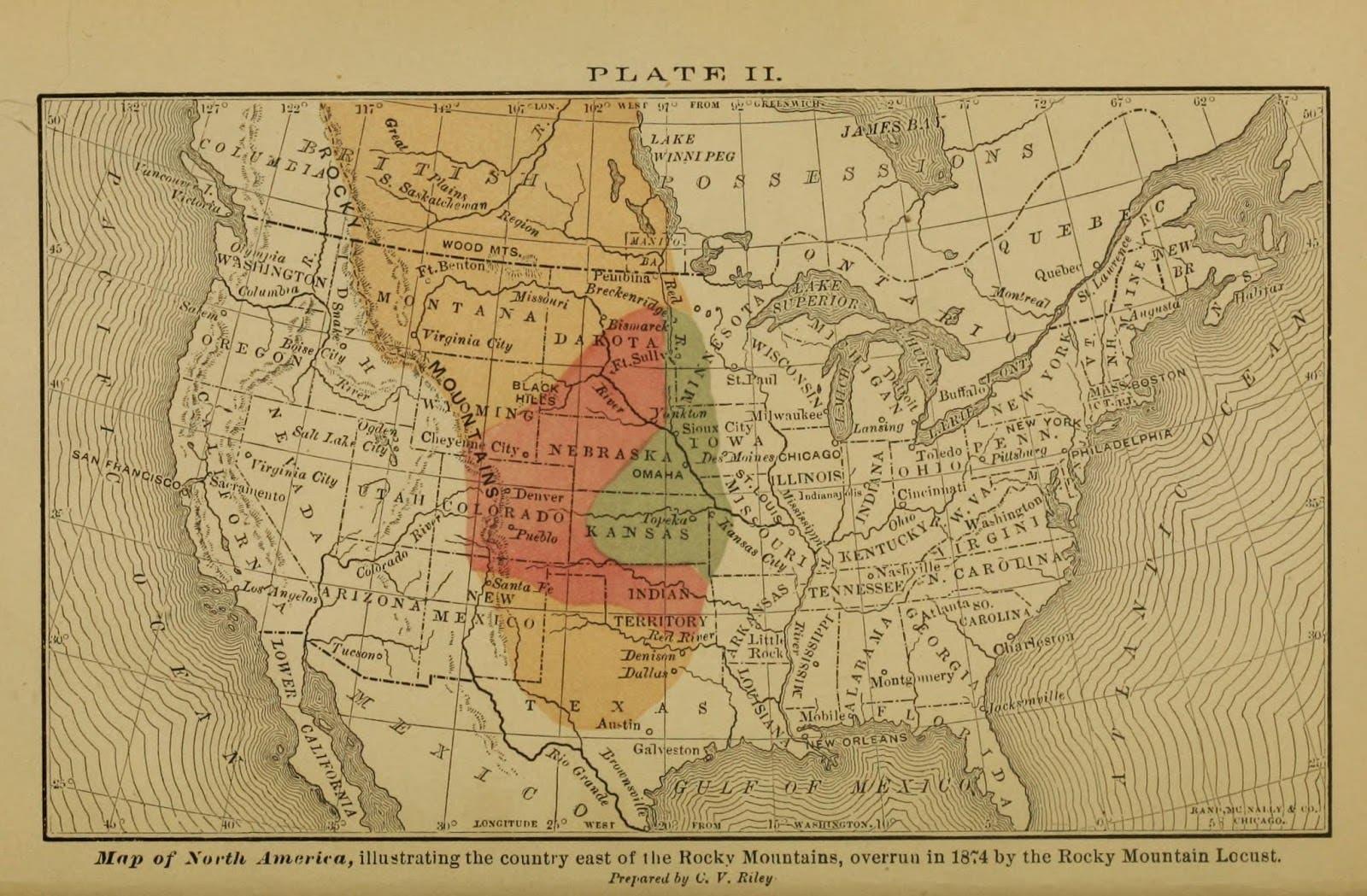 خريطة تجسد المناطق المتضررة من السهول الكبرى الأميركية على إثر كارثة عام الجراد