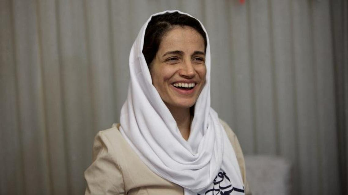 Nasrin Sotoudeh at her home in Tehran on September 18, 2013, after being freed following three years in prison. (AFP)