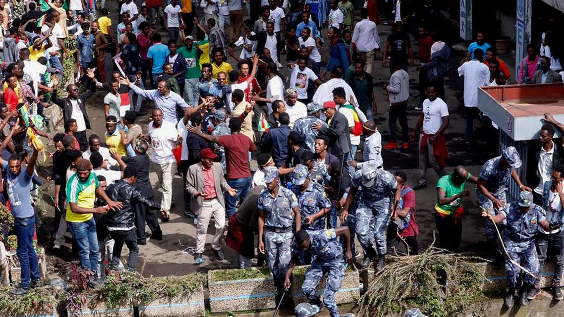 Ethiopia Abiy Ahmed had just wrapped up his speech in the capital Addis Ababa when the explosion went off, sending the crowds towards the stage. (AFP)