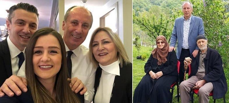 إنجة مع والديه شريف وزكية، وثانية مع زوجته أولكو وابنه صالح وزوجة ابنه التي أنجبت حديثا أول حفيد