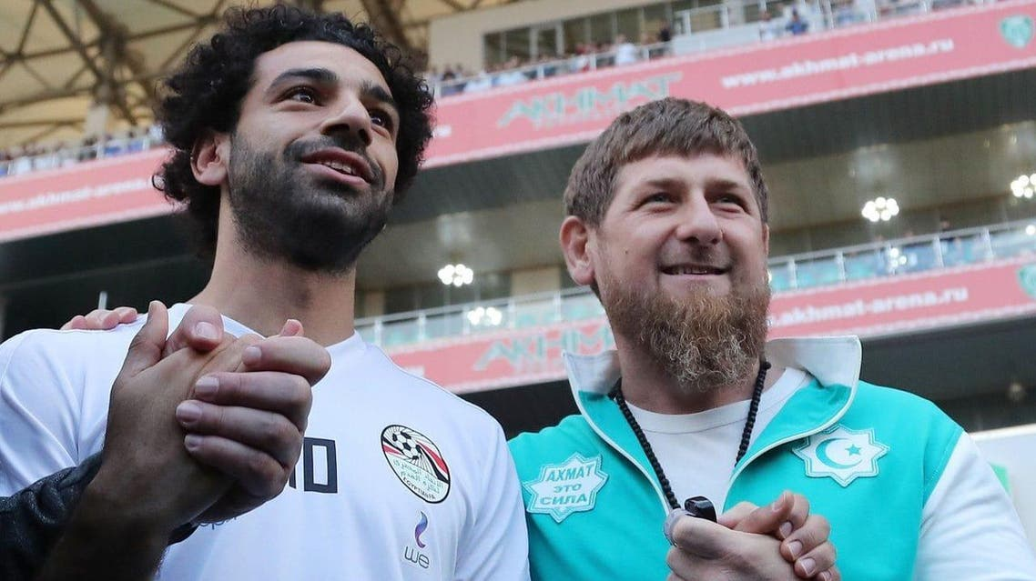 Ramzan Kadyrov brought Mohamed Salah onto the field at the Akhmat Arena in Grozny, Russia earlier this month. (AFP)