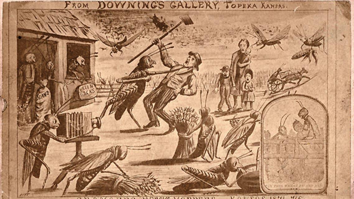 رسم كاريكاتيري يجسد عدد من أهالي كانساس خلال نزاعهم مع الجراد