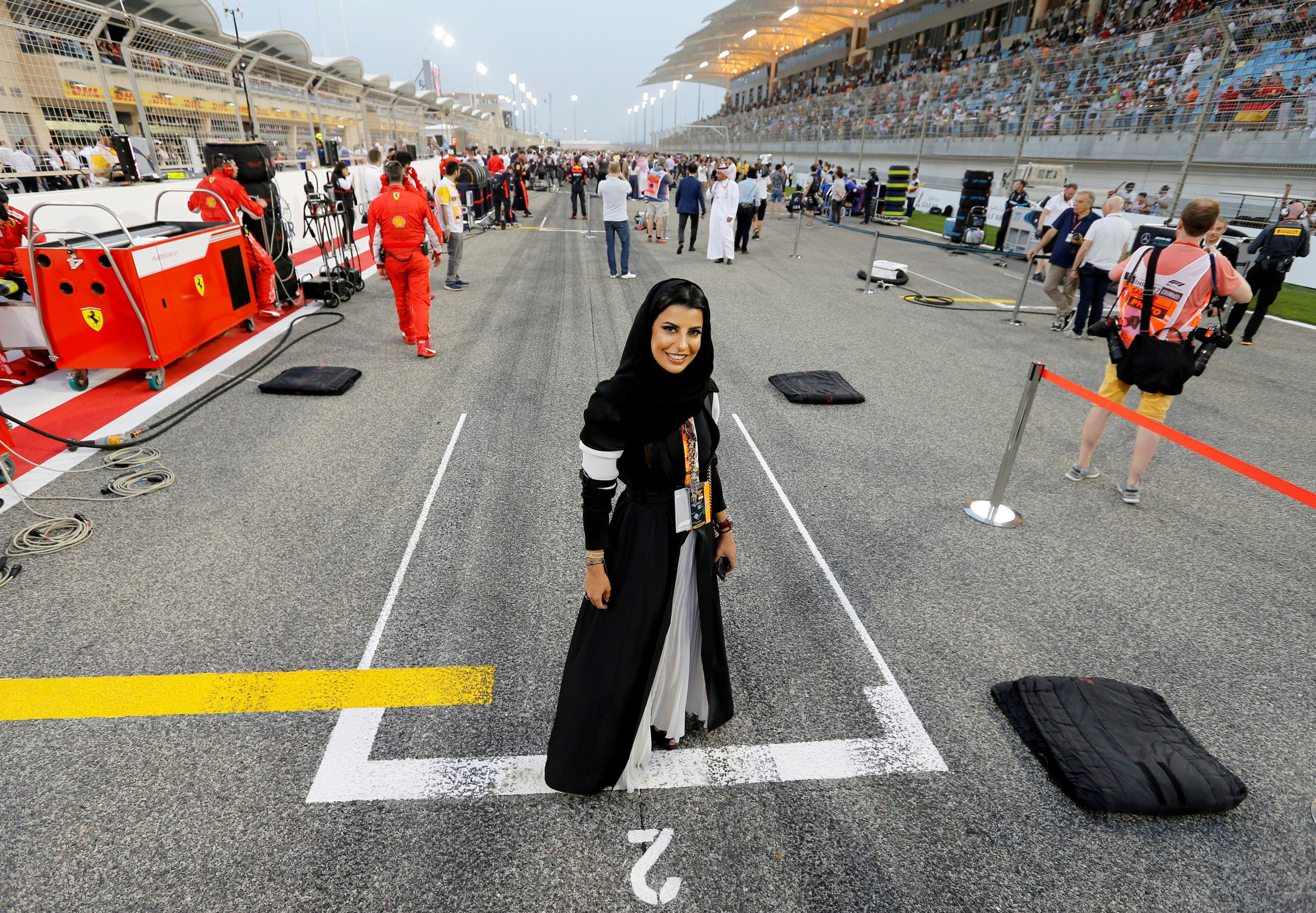 Aseel al Hamad race car driving grand prix. (Reuters)