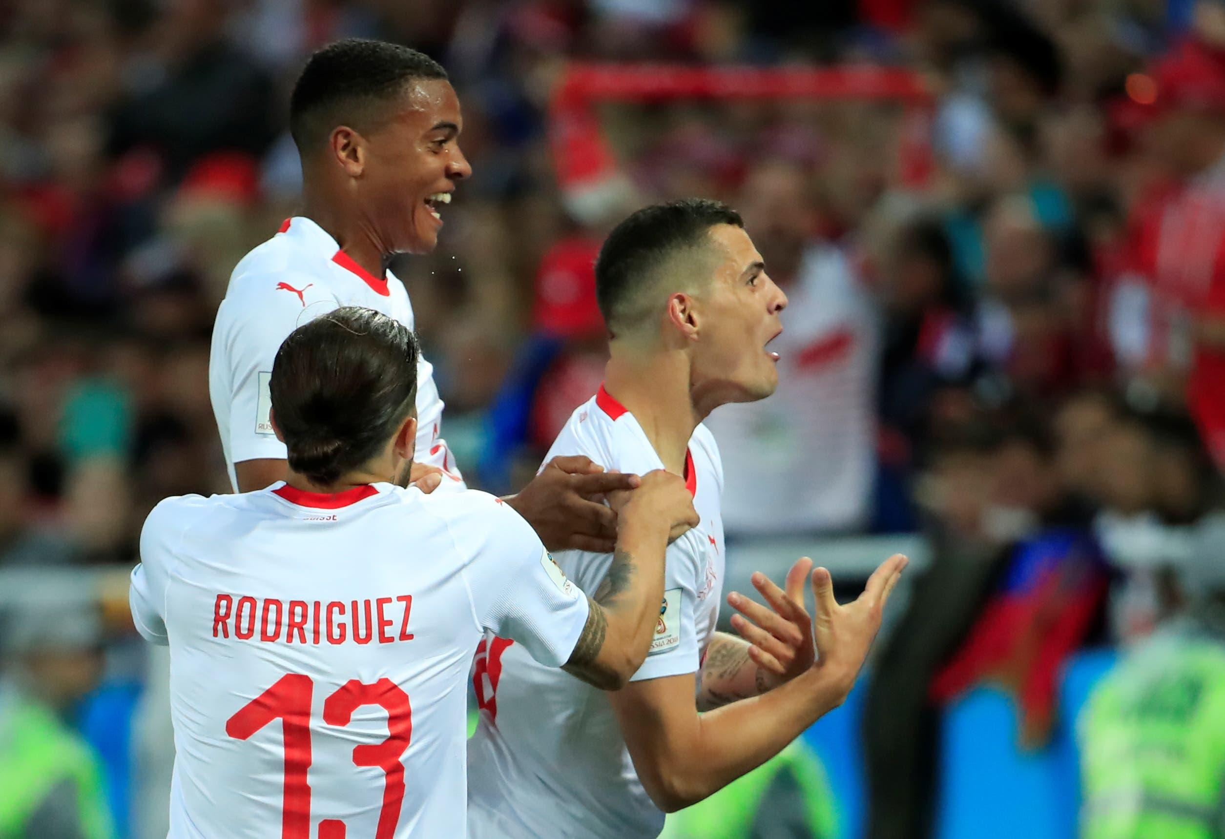 Granit Xhaka celebrates his goal against South Korea in their 2-1 win. (Reuters)