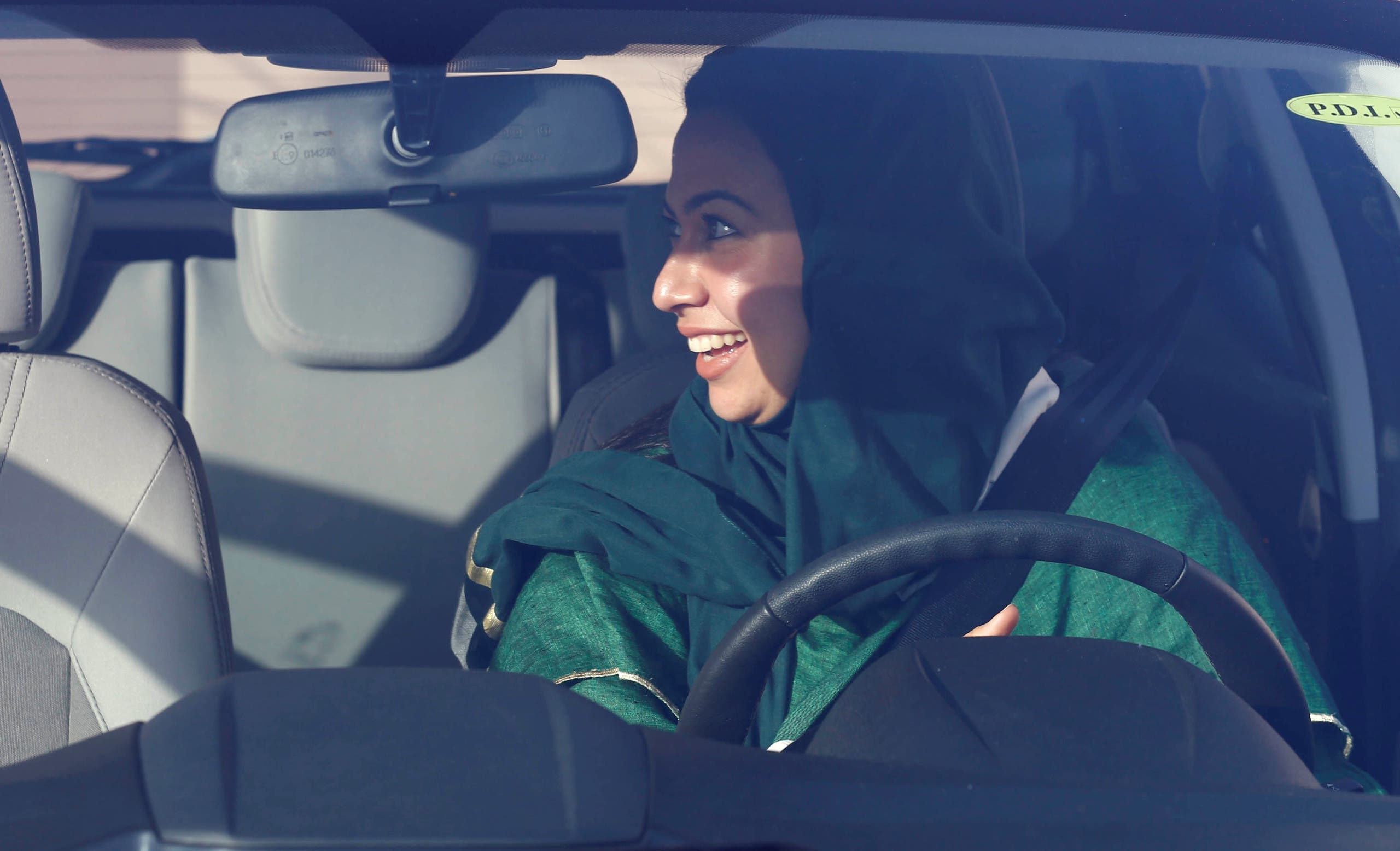 A Saudi woman sits in a car during a driving training at a university in Jeddah, Saudi Arabia. (Reuters)