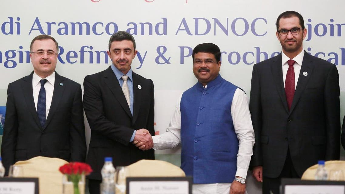 India's Oil Minister Dharmendra Pradhan shakes hands with UAE's Foreign Minister Sheikh Abdullah bin Zayed Al Nahyan after a signing of Memorandum of Understanding, during an event in New Delhi. (Reuters)