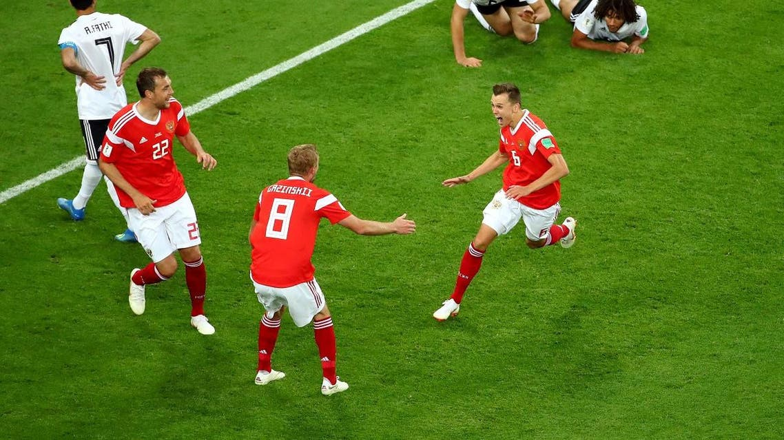 Russia's Denis Cheryshev celebrates scoring their second goal with team mates. (Reuters)