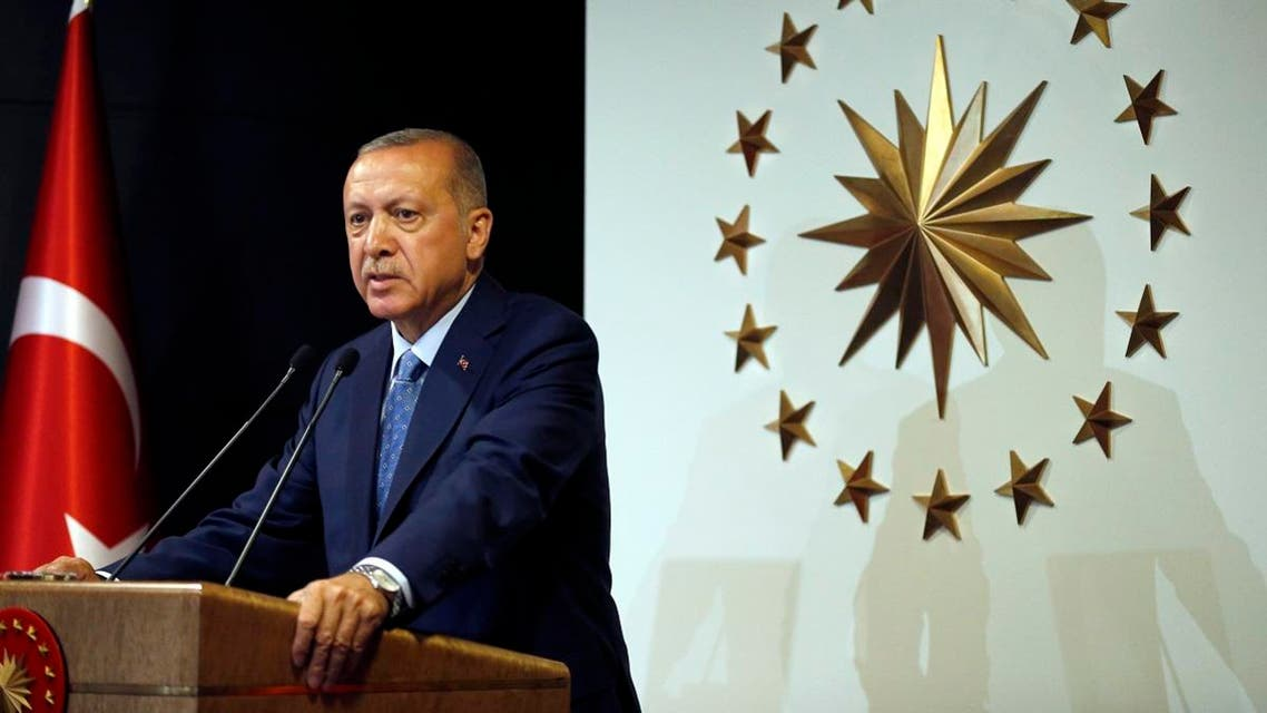 Turkey's President Recep Tayyip Erdogan delivers a statement on national television from his official residence in Istanbul. (AP)