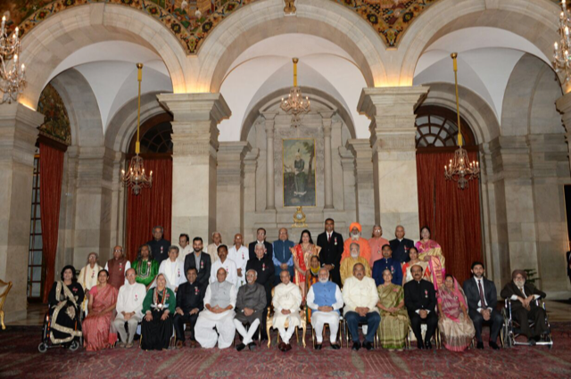 Haque in a group photo of 2017 civilian honours awardees in the Presidential Palace. (Supplied)