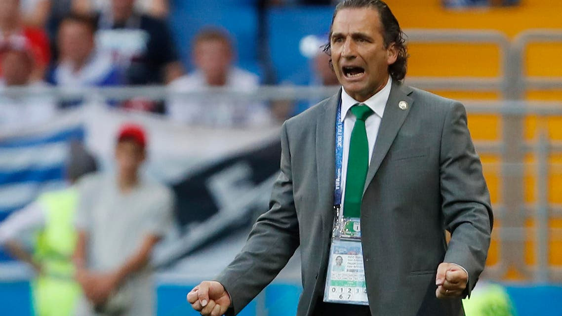 Saudi Arabia head coach Juan Antonio Pizzi reacts during for the group A match between Uruguay and Saudi Arabia at the 2018 soccer World Cup in Rostov Arena in Rostov-on-Don, Russia, Wednesday, June 20, 2018. (AP)