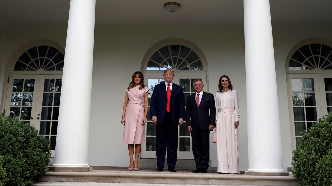 President Trump and first lady Melania Trump with King Abdullah II of Jordan and Queen Rania at the White House on June 25, 2018. (AP)