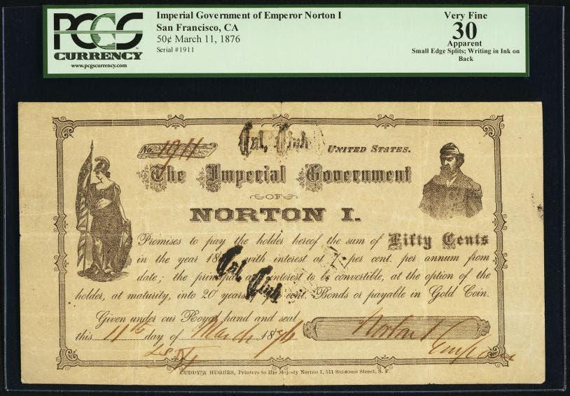 صورة لإحدى العملات الورقية التي أصدرها نورتون الأول
