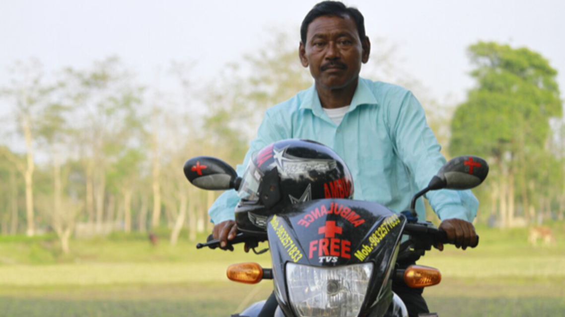 Karimul Haque's expertise does in ferrying the sick on his motorcycle is now being tapped by the armed forces. (Supplied)