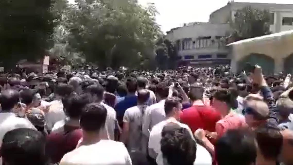 In videos shared by social media users, thousands of people can be seen in central Tehran calling for others to join the strike. (Screenshot)