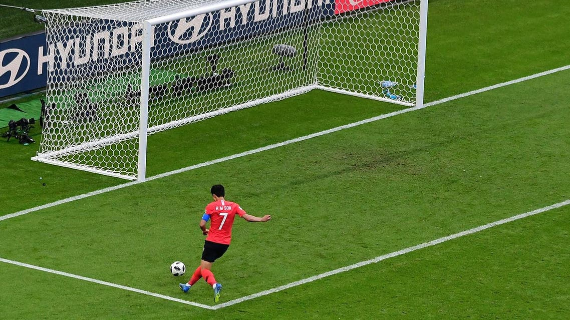 South Korea's Son Heung-min scores his team's second goal at the Kazan Arena on June 27, 2018. (AFP)