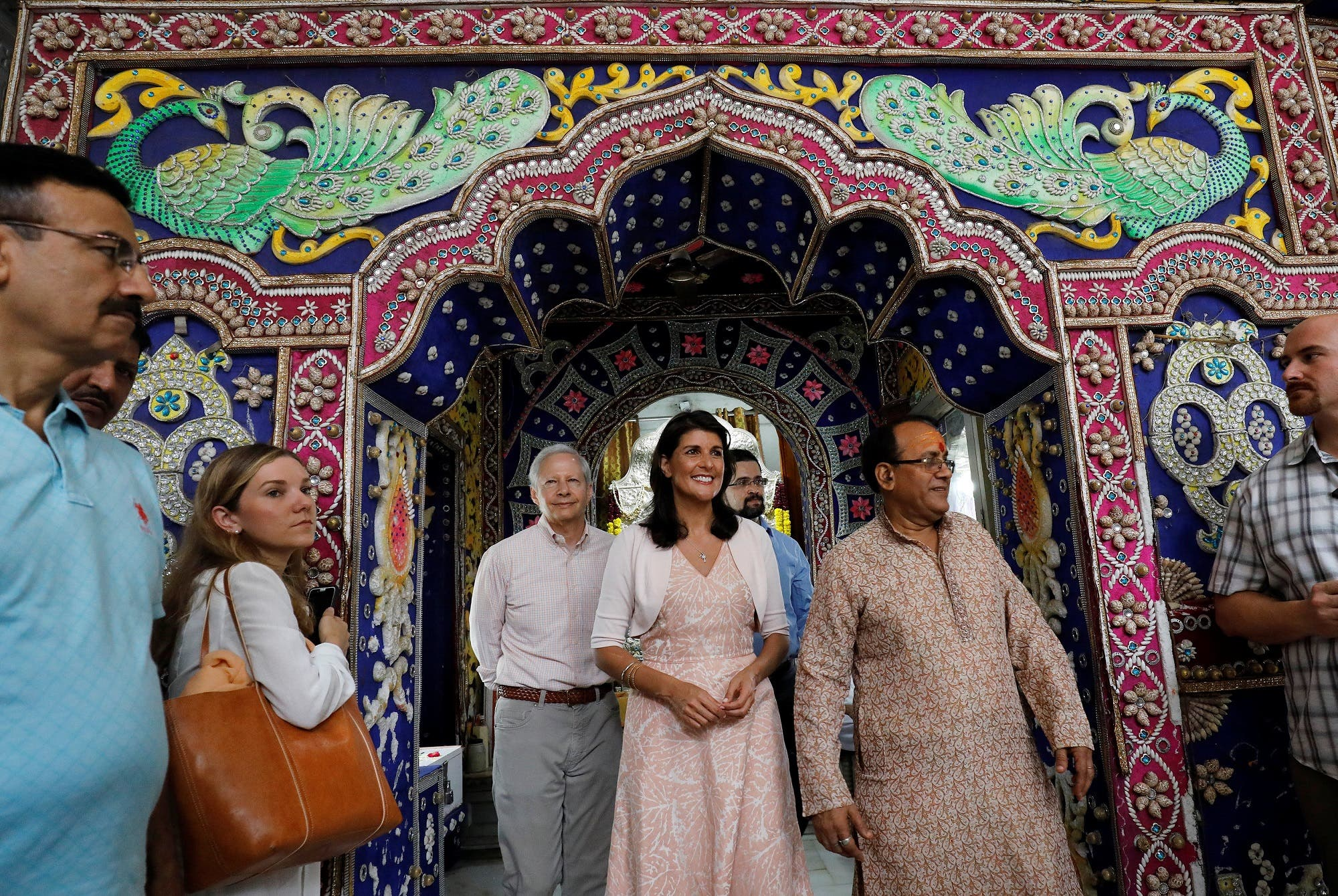 Nikki Haley comes out after visiting a Hindu temple in the old quarters of Delhi on June 28, 2018. (Reuters)