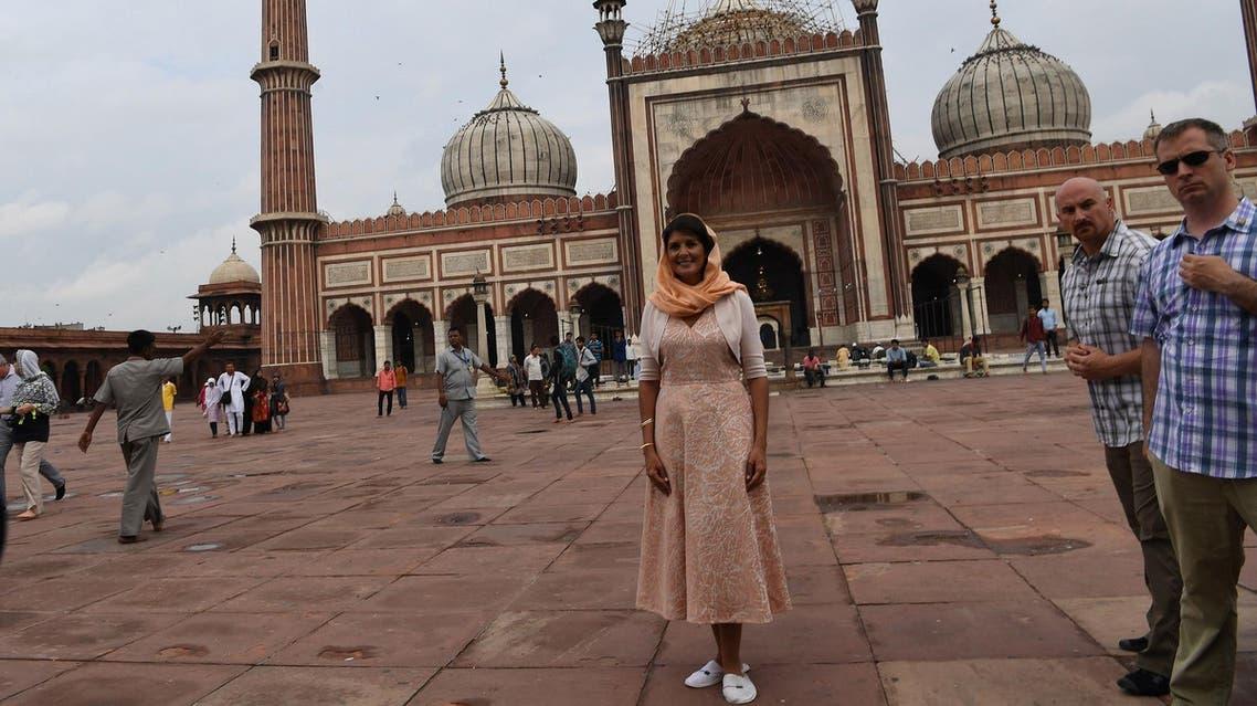 Nikki Haley visits the Jama Masjid mosque in New Delhi on June 28, 2018. (AFP)