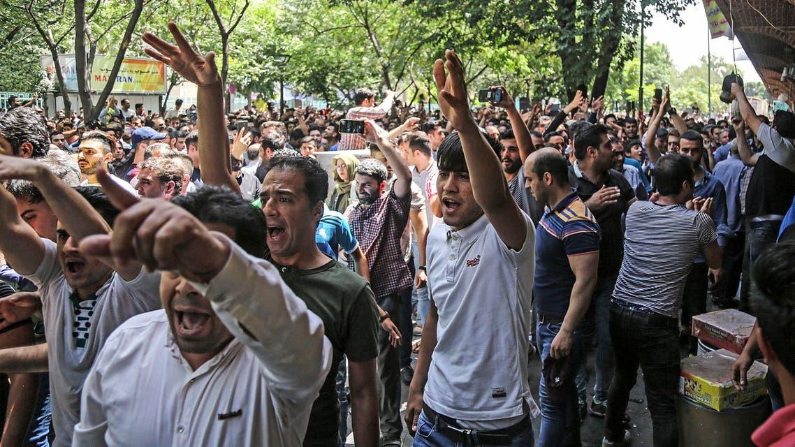 Tehran bazaar protests iran. (AP)