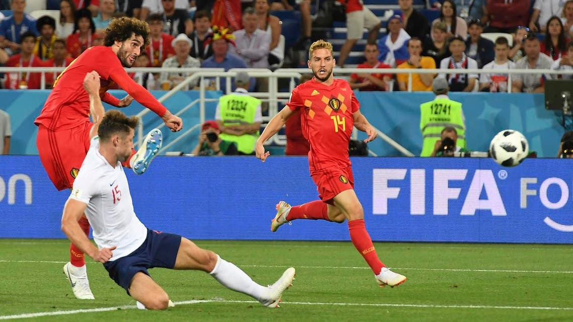 Belgium's midfielder Marouane Fellaini has a shot during the Russia 2018 World Cup Group G football match between England and Belgium on June 28, 2018. (AFP)