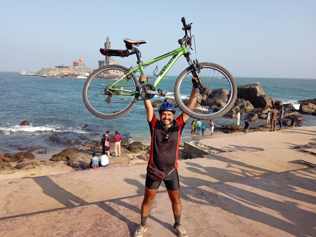 Udeshi is ecstatic after completion of the Goa-Kanyakumari cycle expedition. (Supplied)