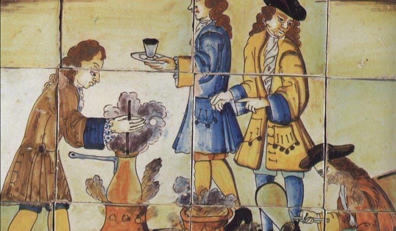رسم تخيلي لعملية إعداد مشروب الكاكاو بأوروبا