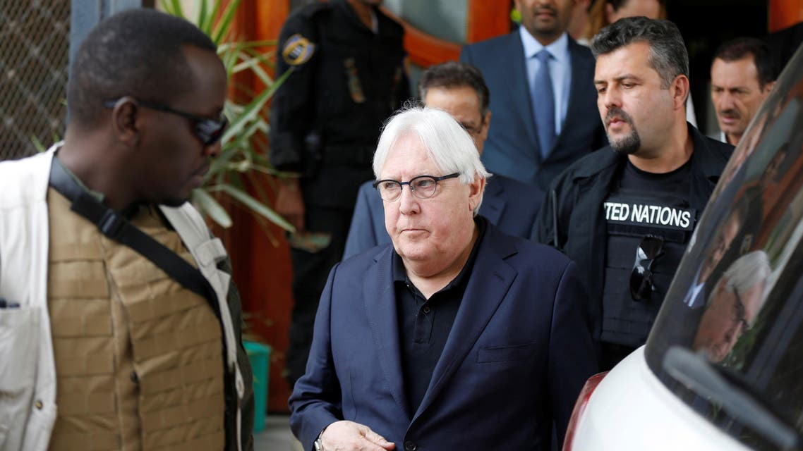 U.N. envoy to Yemen Martin Griffiths is escorted by bodyguards as he arrives at Sanaa airport in Sanaa, Yemen June 16, 2018. REUTERS