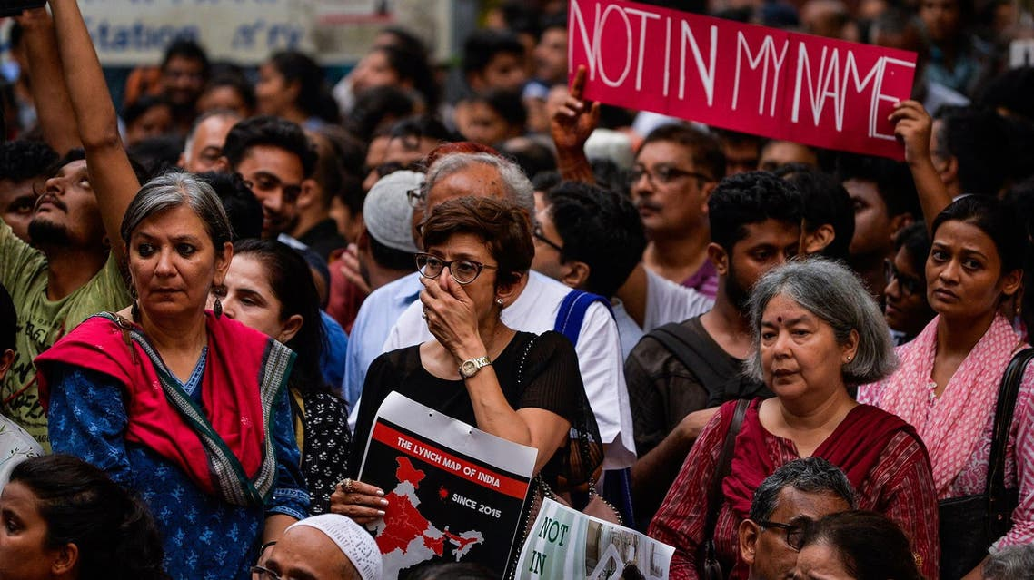 Indian protesters gather for a 'Not in my name' silent protest in New Delhi on June 28, 2017, following a spate of anti-Muslim killings. (AFP)