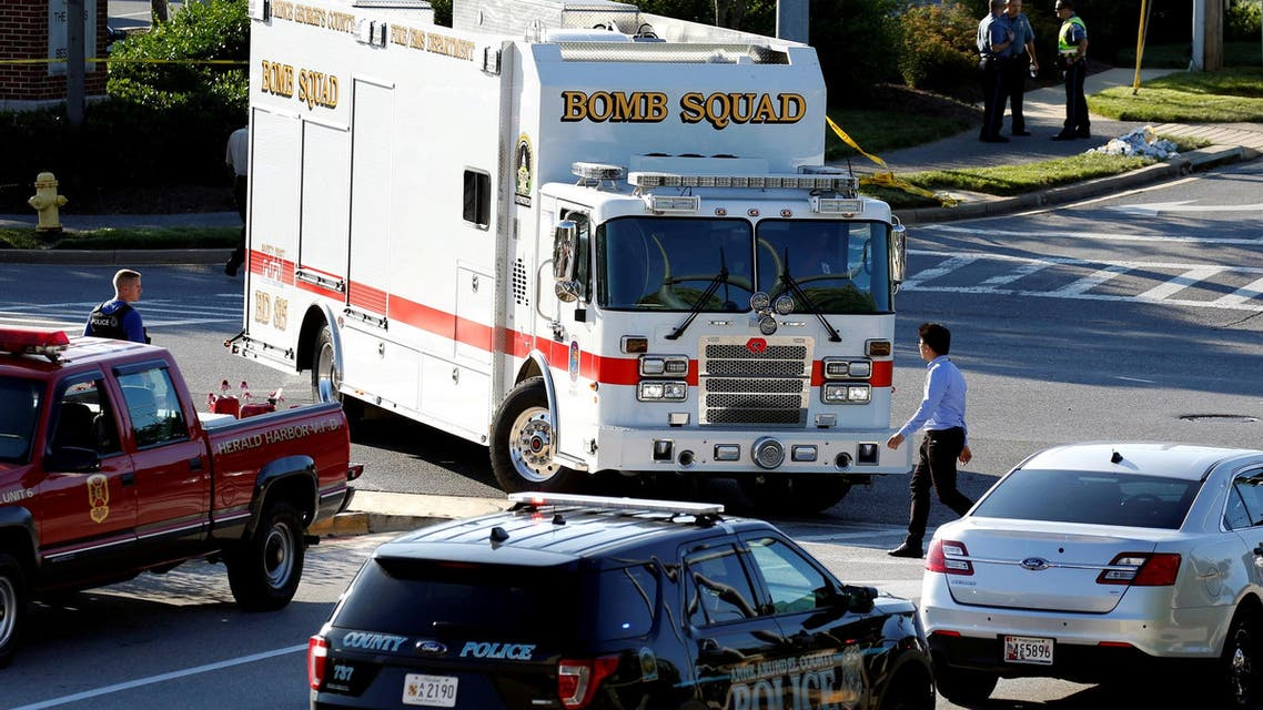 Emergency response vehicles drive near the shooting scene in Annapolis, Maryland, on June 28, 2018. (Reuters)