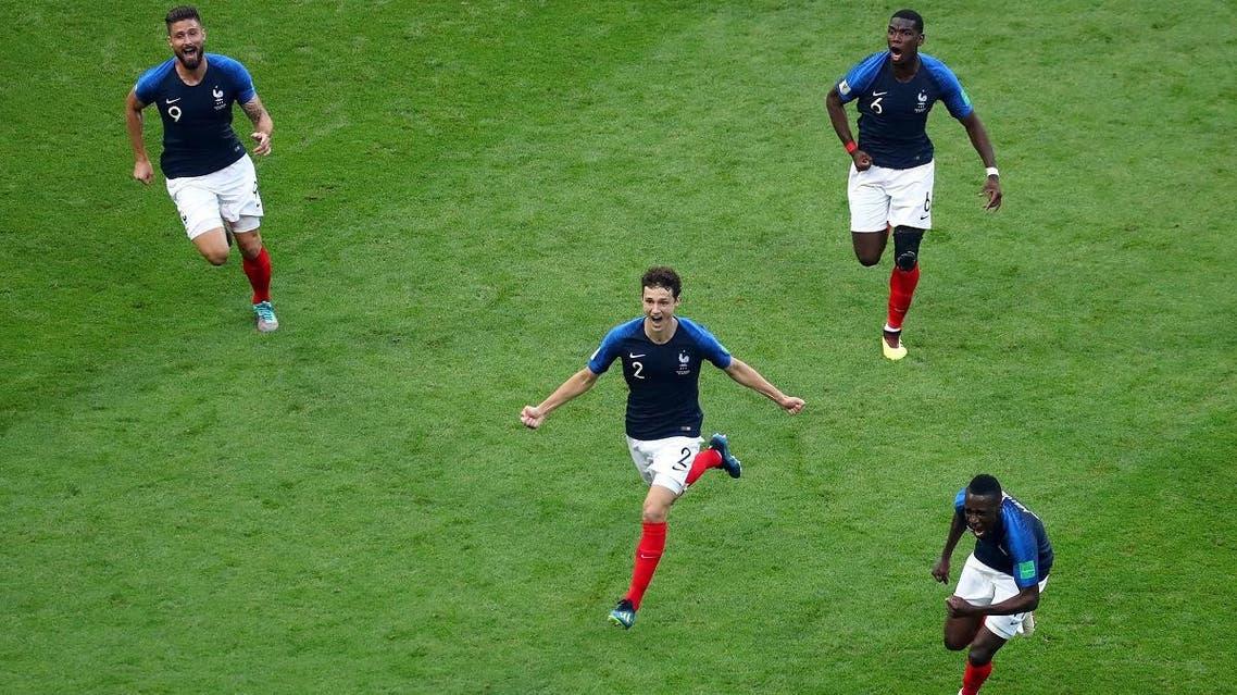 France's Benjamin Pavard celebrates scoring their second goal with Olivier Giroud, Paul Pogba and Blaise Matuidi. (Reuters)