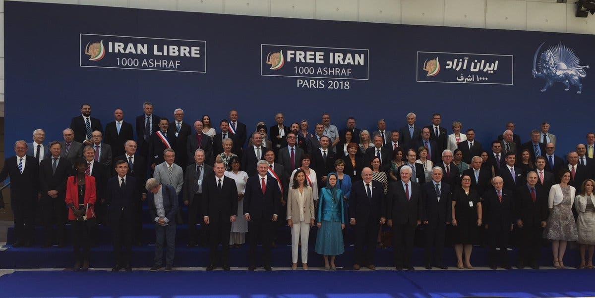 مريم رجوي  مع ضيوف مؤتمر المعارضة الايرانية