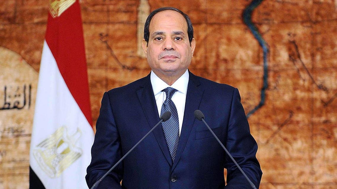 Egyptian President Abdel Fattah al-Sisi delivering a speech at the presidential palace in Cairo, marking the fifth anniversary of the June 30 protests. (AFP)